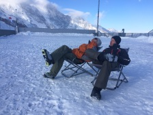 pro skiiers on a break