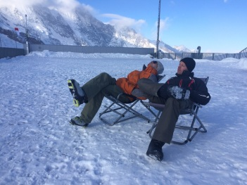 pro skiiers on a break